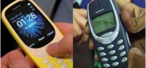 """Nokia 3310 (à esquerda) ao lado de versão """"Original"""" lançada há 17 anos. Créditos da imagem: Nokia"""